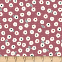 Stoffabric Denmark Flower and Dot Multi Flowers Bordeaux