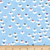 Stoffabric Denmark Flower and Dot Multi Flowers Light Blue
