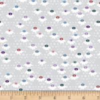 Stoffabric Denmark Flower and Dot Multi Flowers Grey