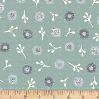 Stoffabric Denmark Flower and Dot Multi Flowers Light Green