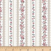 Stoffabric Denmark Emily Roses Roses and Stripes Sand