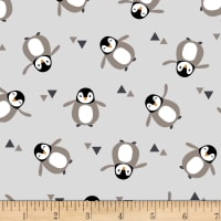 Stoffabric Denmark Avalana Jersey Knit Digital Prints Small Penguins Grey