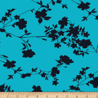 Stoffabric Denmark Avalana Jersey Knit Prints Flower and Branch Peacock