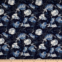 Stoffabric Denmark Avalana  Viscose Digital Flowers and Leaves  Dark Blue