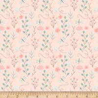 "Exclusive Fabric Editions 36"" x 42"" Pre-Cut Coral Woodland Flora Flannel"