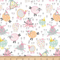 "Exclusive Fabric Editions 36"" x 42"" Pre-Cut Knitting Sheep Flannel"