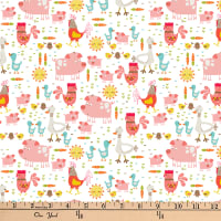 "Exclusive Fabric Editions 36"" x 42"" Pre-Cut Happy Farm Animals Flannel"