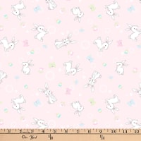 "Exclusive Fabric Editions 36"" x 42"" Pre-Cut Bunny Pink Print Cotton"