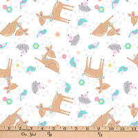 "Exclusive Fabric Editions 36"" x 42"" Pre-Cut Deer White Tossed Cotton"