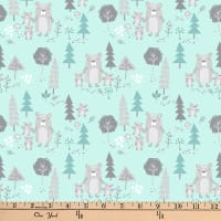"Exclusive Fabric Editions 36"" x 42"" Pre-Cut  Woods Mint Bears Flannel"