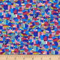 Stoffabric Denmark Small Houses Blue/Red and Pink