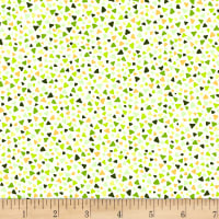 Stoffabric Denmark Triangles Green and Yellow on Cream