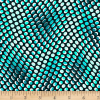 Stoffabric Denmark Colourful Dots Black/Turquoise and White