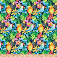Tropical Zone Parrots with Flowers Blue