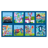 "Udder Chaos Farm Blocks 24"" Panel Blue"