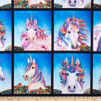 "Unicorn-ocopia Digital  Unicorn Blocks 36"" Panel Medium Blue"