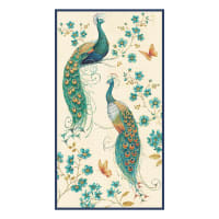 "Peacock Pavilion Peacock 24"" Panel Ivory"