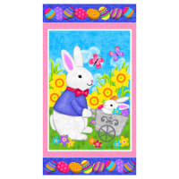 "Hello Spring Easter Bunny 24"" Panel Multi"