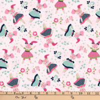 Boho Blooms Tossed Bunnies Pink