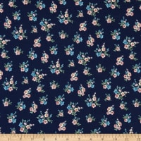 Fabric Merchants Double Brushed Poly Stretch Jersey Knit Mini Floral Bouquet Navy/Blush