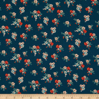 Double Brushed Poly Jersey Knit Mini Floral Bouquet Teal