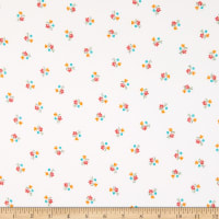 Fabric Merchants Double Brushed Poly Stretch Jersey Knit Mini Floral Bouquet Ivory/Coral