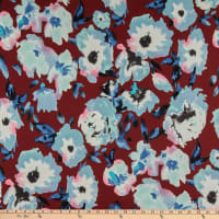 Double Brushed Poly Jersey Knit Watercolor Floral Burgundy/Mint