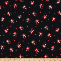 Double Brushed Poly Jersey Knit Mini Roses Black/Coral