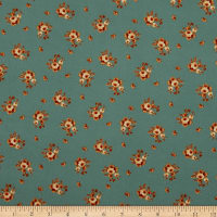 Fabric Merchants Double Brushed Poly Stretch Jersey Knit Mini Roses Mint/Rust
