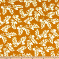 Double Brushed Poly Jersey Knit Tropical Mustard/Ivory