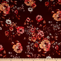 Double Brushed Poly Jersey Knit English Roses Burgundy