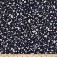 Double Brushed Poly Jersey Knit Allover Mini Floral Navy/Ivory