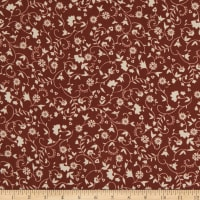 Double Brushed Poly Jersey Knit Allover Mini Floral Rust/Ivory