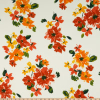 Double Brushed Poly Jersey Knit Watercolor Floral Garden Ivory/Coral