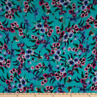 Fabric Merchants Double Brushed Poly Stretch Jersey Knit Watercolor Floral Garden Mint/Pink
