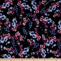 Double Brushed Poly Jersey Knit Watercolor Floral Garden Navy/Fuschia
