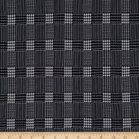 Fabric Merchants Double Brushed Poly Stretch Jersey Knit Houndstooth Plaid Navy