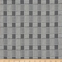 Double Brushed Poly Jersey Knit Houndstooth Plaid Black