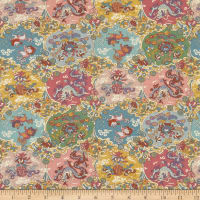 Liberty Fabrics Tana Lawn Dog and Dragon Pink/Multi