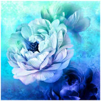 "Royal Beauty Peonies 60"" Panel Royal/Purple"