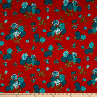 Fabric Merchants Ponte de Roma Stretch Knit Roses Dark Coral/Mint