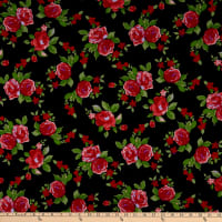 Fabric Merchants Ponte de Roma Knit Roses Black/Red
