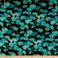 Fabric Merchants Ponte de Roma Knit Allover Floral Black/Mint