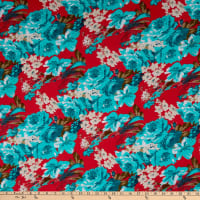 Fabric Merchants Ponte de Roma Knit Multi Floral Coral/Mint
