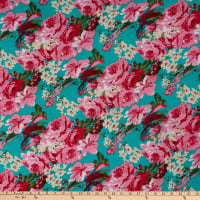 Fabric Merchants Ponte de Roma Knit Multi Floral Jade/Pink