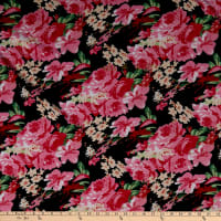 Fabric Merchants Ponte de Roma Knit Multi Floral Black/Pink