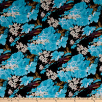 Fabric Merchants Ponte de Roma Knit Multi Floral Black/Light Blue