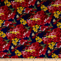 Fabric Merchants Ponte de Roma Knit Multi Floral Navy/Marsala