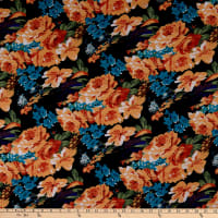 Fabric Merchants Ponte de Roma Knit Multi Floral Black/Peach