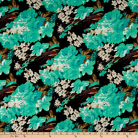 Fabric Merchants Ponte de Roma Knit Multi Floral Black/Mint